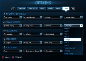 The new chat options in Rocket League